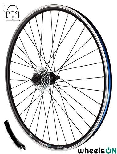 wheelsON 700c Rear Wheel + 7 speed Freewheel Hybrid/Mountain Bike Black 36H Rim Brake