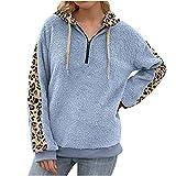 Wave166 Felpa da donna casual invernale con cappuccio reversibile in pile oversize a maniche lunghe, calda felpa con cappuccio leopardato patchwork con cerniera 1/4, Blu, XL