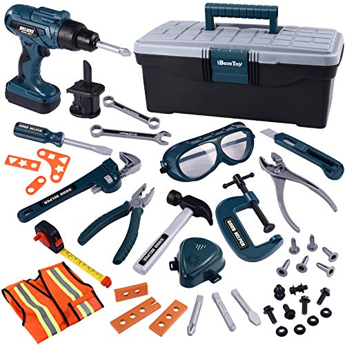 iBaseToy Kids Tool Set, Upgraded Play Tool Toy Construction Tools Electric Tool Playset 45PCSPretend Play Tool Toy Kit with Electronic Cordless Drill, Toddler Tool Set and Tool Kit for Kids