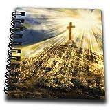3dRose db_319570_3 Religiöses Gemälde eines goldenen Kreuzes auf einem Hügel für spirituelle Anlässe – Mini-Notizblock, 10,2 x 10,2 cm, mehrfarbig