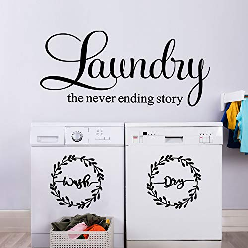 Laundry Room Vinyl Wall Decal Wash Dry Vinyl Laundry Stickers Laundry The Never Ending Story Decal Washer Stickers Quote Wall Art Stickers for Home Apartment Washing Machine (Black Printing)
