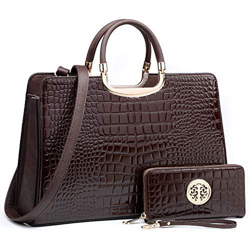 Women's Fashion Handbag Shoulder Bag Hinged Top Handle Tote Satchel Purse Work Bag with Matching Wallet (3-croco Coffee Wallet Set)