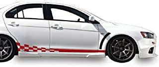 Bubbles Designs Decal Sticker Vinyl Side Wavy Finishing Stripe Kit Compatible with Mitsubishi Lancer Evolution X 10 2005-2016 (RED)