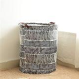 LiChaoWen Cesta para la colada, grande, circular, plegable, cesta de ropa, cesta de lavandería, bolsa de almacenamiento de juguetes, cesta grande (color: negro, tamaño: 40 x 50 cm)