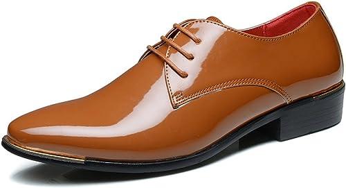 JIALUN-des Chaussures Oxford Oxford Formel Simple PU en Cuir Verni à Talon Bas en Cuir à Lacets Chaussures Mocassins Grande Taille (Couleur   Marron, Taille   10.5MUS)