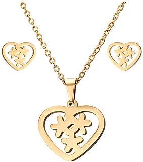 Collana con orecchini in acciaio inossidabile ECG Set Ornament Necklace, 2