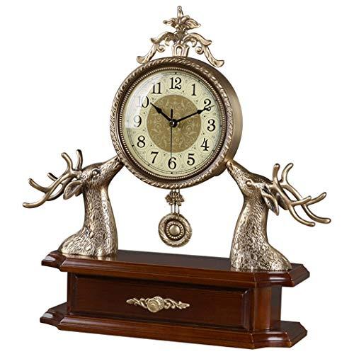 ZLDMYC Exquisito Relojes de Escritorio Retro, Reloj de Metal Creativo Antiguo, Reloj de Manto clásico con cajón, para Sala de Estar Dormitorio Dormitorio Cocina Creativo (Color : Wood)