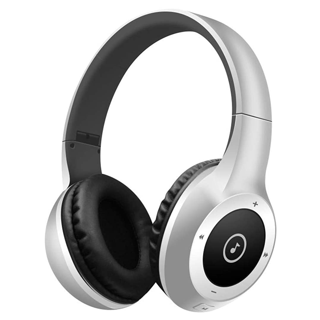 ラフ燃やすホイッスルワイヤレス音楽ヘッドフォン ブルートゥースヘッドフォンオーバーイヤーヘッドフォン、ステレオフォールド可能ヘッドフォンソフトイヤーマフ付ワイヤレスヘッドフォン、携帯電話用PC内蔵PCノートパソコン (Color : Silver)