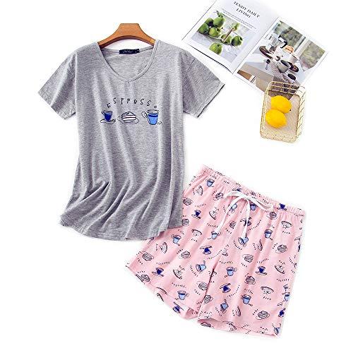 Misscoo Dam pyjamas set ärmlös myskläder shorts byxor för kvinnor damer flickor studenter bomull vår sommar pyjamas set nattkläder nattlig