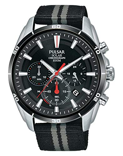 Pulsar Sport Herren-Uhr Solar Chronograph Edelstahl mit Textilband PZ5091X1