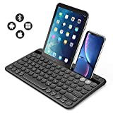 Jelly Comb Bluetooth Tastatur, Multi-Device Bluetooth-Tastatur wiederaufladbar QWERTZ Layout Funktastatur für Tablet, Smartphone, PC, Laptop, Smart TV, Windows, Android, iOS(Schwarz)