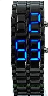 DHnewsun Metallic Black Lava Faceless Blue LED Volcanic Men Lady Bracelet Wrist Watch