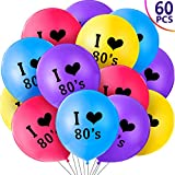 60 Pieces 80's Party Balloons I Love 80s Balloons 12 Inches Colored Latex 80s Balloons for 80s Themed Birthday Party Throwback Party Decorations