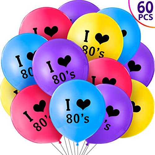 60 Piezas de Globos de Fiesta de 80's Globos de I Love 80s de 12 Pulfadas Colores Látex para Decoraciones de Fiesta Temáticas de Fiesta de Cumpleaños