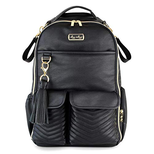 Itzy Ritzy Diaper Bag Backpack  Large Capacity Boss Backpack Diaper Bag Featuring Bottle Pockets, Changing Pad, Stroller Clips and Comfortable Backpack Straps, Black with Gold Hardware