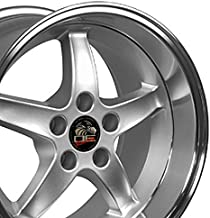 OE Wheels 17 Inch Fits Ford Mustang 94-2004 Cobra R Style FR04B 17x10.5/17x9 Rims Silver Machined Lip SET