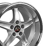 OE Wheels LLC 17 Inch Fits Ford Mustang 94-2004 Cobra R Style FR04B 17x10.5/17x9 Rims Silver Machined Lip SET