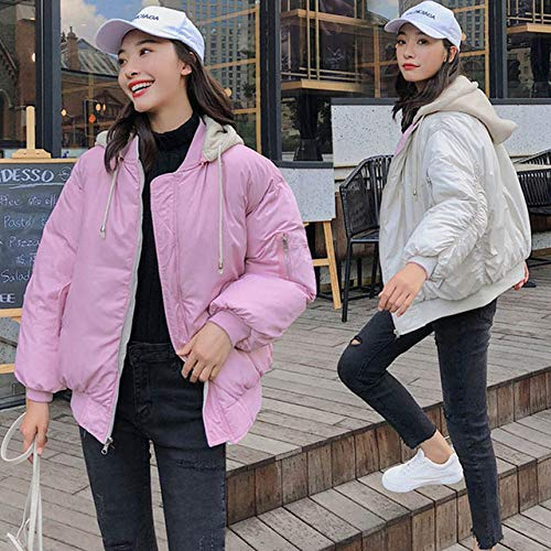 WJINNSH dames winterjas met capuchon van katoen, gevoerd, oversize, roze en beige, XL