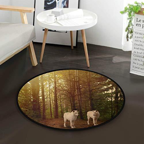 W-WEE Waldbaum Wolf runde Fläche Teppich für Wohnzimmer Schlafzimmer