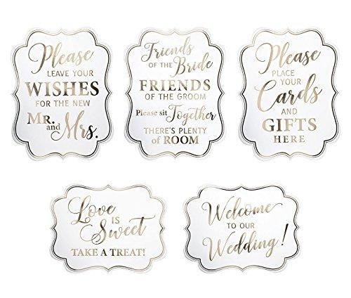 Lillian Rose Set of 5 White & Gold Wedding Signs, 15'X11.5', White