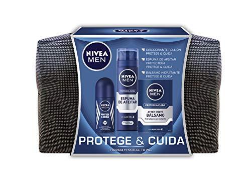 NIVEA MEN Pack Protege y Cuida Neceser, set de baño para hombre con espuma de afeitar (1 x 250 ml), bálsamo aftershave (1 x 100 ml) y desodorante roll on (1 x 50 ml)