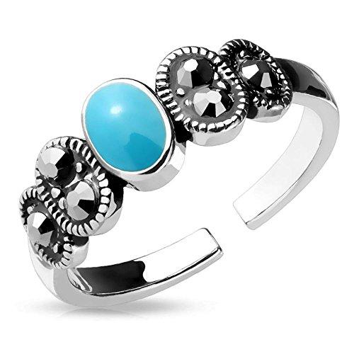 Bungsa® Türkisstein Zehenring Zirkonia Brass Damen (Zehring Fussschmuck Fussring Toe-Ring Nail Ring Nagelring biegbar verstellbar)