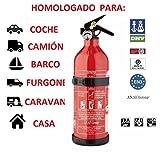 anafgroup EXTINTOR 1 K G ABC HOMOLOGADO para Coche Moto Barco Cocina CASA Caravana DE Aluminio con Soporte Y MANOMETRO Incendio Fuego PREVENCION Seguridad