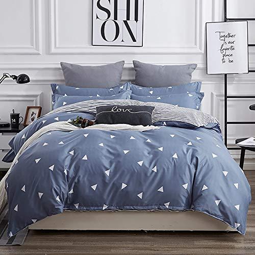 DC Wesley Triángulo Simple Aloe Blanco Algodón Activo Azul Estampado y teñido Juego de algodón Dormitorio Ropa de Cama de Cuatro Piezas Funda de Almohada * 2 / Hojas/Cubierta