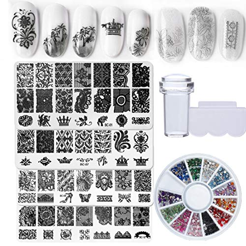 Nail Art Stamping Kit Image Plate Template Clear Stamper with Scraper, Decoration Rhinestone for Nail Design DIY Salon(Bi015B)