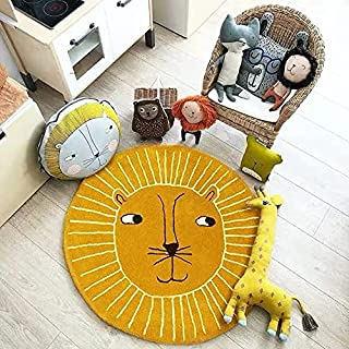 Cartoon Lion Area Rug Baby Yellow Round Crawling Mat for Playing Nursery Rug, Carpet for Bedside, Living Room Decor, Playr...