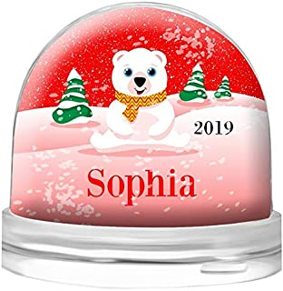 Dinkleboo Snow Globe Personalized for Kids and Adults Young at Heart - Clear Acrylic Dome - Your Choice of White Snow or Red Hearts – Select from Several Cute Designs (Polar Bear)