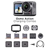 DJI Osmo Action Charging Combo, Camera Digitale con Kit Accessori Incluso, Doppio Display, Fino a 11 m, Resistente all