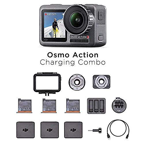 DJI Osmo Action Charging Combo - Cámara Digital con Kit de Accesorios Incluido, Pantalla Doble, Resistente al Agua hasta 11 m, Estabilización Integrada, Foto y Video en 4K HDR a 100 Mbps, Negro