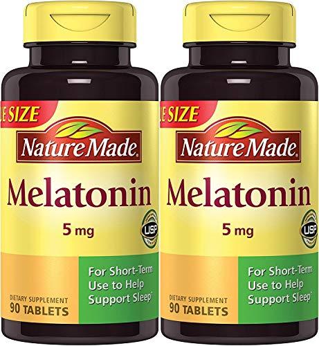 Nature Made Melatonin Maximum Strength 5 mg, 90 Tablets (2 Pack)