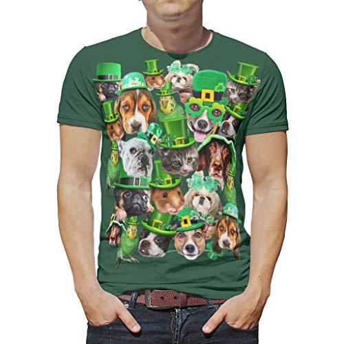 Camiseta de manga corta con cuello redondo de poliéster para hombre, diseño de animales