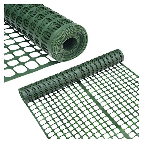 Abba Patio Safety Fence 4' X 100' Feet Plastic Garden Netting Temporary Plastic Mesh Fencing for Deer, Lawn, Rabbits, Chicken, Poultry, Dogs, Dark Green