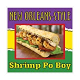 Die-Cut Sticker Multiple Sizes New Orleans-Style Shrimp Po-Boy Restaurant & Food Shrimp Sandwich Indoor Decal Concession Sign Yellow - 14in Longest Side