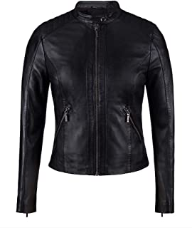 New Womens Black Leather Moto Jacket