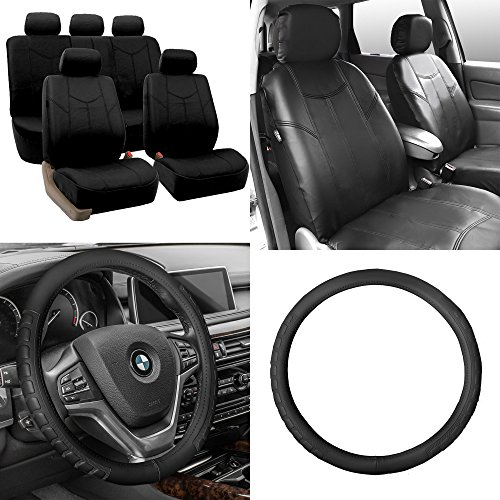 FH Group PU009115 PU Leather Rome Seat Covers with Microfiber Embossed (Black) Full Set - Universal Fit for Cars, Trucks & SUVs