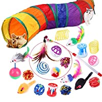 🐱VALUE CAT TOY SET: The 20pcs Kitten toys include: 1 * foldable rainbow cat tunnel, 1 * feather wand, 1* sisal ball ,1 * tumbler mouse, 2 * column bells, 2 * fake fur mices, 2 * colorful mices, 2 * pumpkin bells, 2* springs, 2* plush balls, 2* jingle...