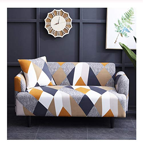wjwzl europäische geometrische Nähte, Sofabezug, Polyesterfaser, bedruckter Stretch-Schutzbezug, geeignet für die meisten Sofa-Überzüge, 3 seat Sofa Cover :190-230cm