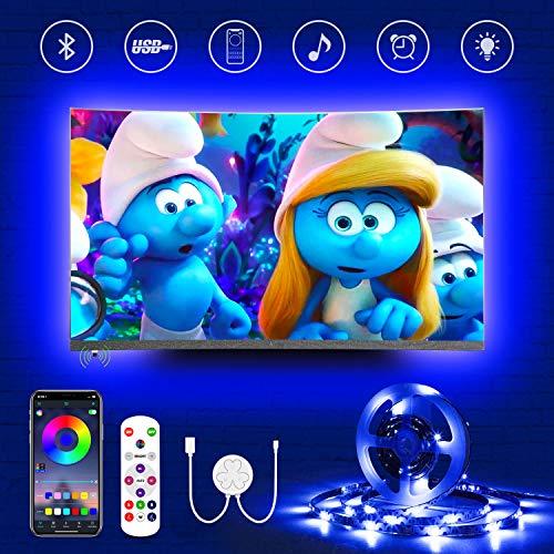 Hamlite TV Hintergrundbeleuchtung für 70-82 Zoll Fernseher, 5.5m Bluetooth LED Strip, Sync mit Musik, RGB LED Streifen mit Fernbedienung und App Steuerung, USB-Betrieb, für TV/PC Monitor, Spielzimmer