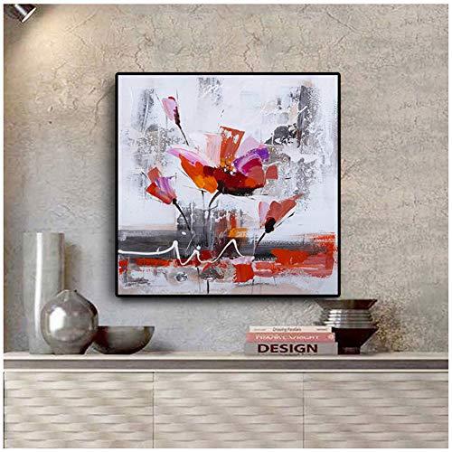 sjkkad Abstract aquarel klapros bloemen schilderij op canvas poster en afdrukken Scandinavische Scandinavische Scandinavische kunst schilderij voor de woonkamer -50x50cm zonder lijst