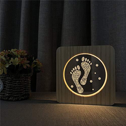Lámpara de Forma de Huella lámpara de luz de Mesa de luz Nocturna de Madera lámpara de Grabado de Control para Regalo de cumpleaños de Fiesta de Amigos