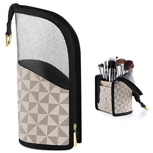 FOREGOER Makeup Brush Holder Organizer Bag,Stand-Up Makeup Brush Travel Cosmetic Cup,Professional Artist Waterproof Dust-proof Brush Sets Carry Case for Women