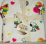 Berk Shire Peanuts Snoopy and Woodstock Rainbow Pride Fleece Valentine Throw
