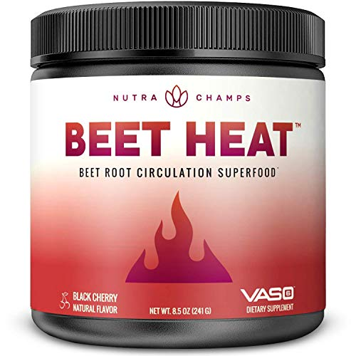 Beet Root Powder Circulation Superfood - Endurance, Energy & Recovery - Nitric Oxide Booster Supplement with Beetroot Juice, Patented Vaso6 & Grape Seed Extract - Natural Black Cherry Flavor, No Sugar