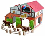 roba Bauernhof 'Farm', bedrucktes Holzspielzeug, Set mit Scheune, Stall, Heuboden, Zaun & 6...