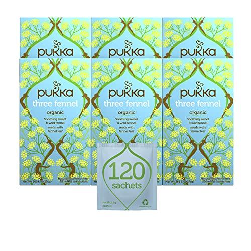 Pukka Three Fennel, Organic Herbal Tea (6 Pack, 120 Tea Bags)