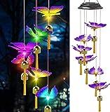 Carillón de viento solar de mariposa,Carillón de viento móvil LED que cambia de color,luz de cadena, luz LED decorativa romántica a prueba de agua con campana, para regalo,patio,jardín, decoración